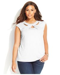 INC International Concepts | White Plus Size Cap-sleeve Cutout Top | Lyst