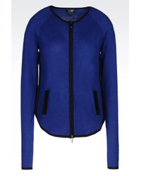Armani Jeans | Blue Full Zip Cardigan In Wool Blend | Lyst