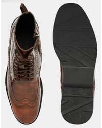 ASOS - Brown Brogue Boots In Tan Leather for Men - Lyst