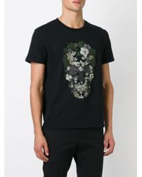 Alexander McQueen - Black Floral Skull T-shirt for Men - Lyst