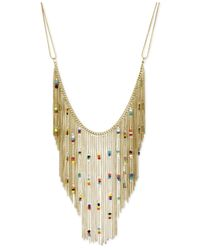 Steve Madden | Metallic Gold-Tone Beaded Chain Fringe Frontal Necklace | Lyst