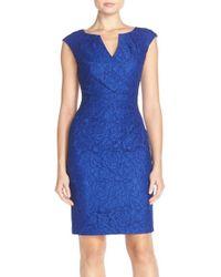 Adrianna Papell - Blue Lace Sheath Dress - Lyst