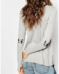 ASOS - Gray Sweater With French Bulldog Elbow Patch - Lyst