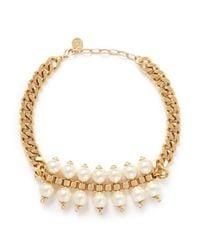 Ela Stone - White 'Celia' Box Chain Faux Pearl Tier Necklace - Lyst