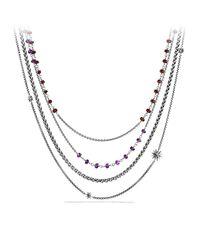 David Yurman | Metallic Necklace With Amethyst And Garnet | Lyst