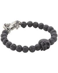 King Baby Studio | Metallic Lava Rock Bead Bracelet with Jet Skull for Men | Lyst