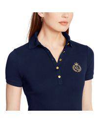 Ralph Lauren - Blue Metallic-crest Polo Shirt - Lyst