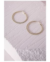 Missguided | Metallic Thin Chain Hoop Earrings Gold | Lyst