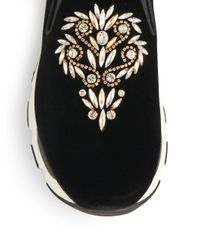 Rene Caovilla - Black Embellished Velvet Slip-on Sneakers - Lyst