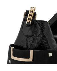 Jimmy Choo | Black Anna Glossy Deerskin Shoulder Bag | Lyst