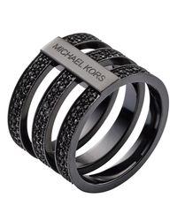 Michael Kors | Black Pavé Tri Stack Ring | Lyst
