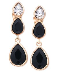 Tahari | T Gold-tone Crystal And Black Stone Drop Clip-on Earrings | Lyst