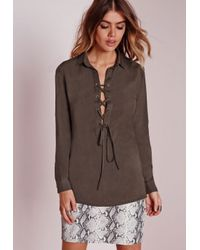 Missguided - Natural Pocket Lace Up Shirt Khaki - Lyst