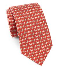 Ferragamo | Red Rooster Print Silk Tie for Men | Lyst