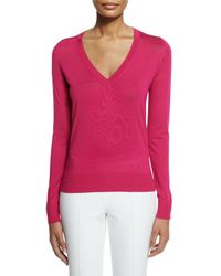 Michael Kors - Pink Silk V-neck Knit Sweater - Lyst