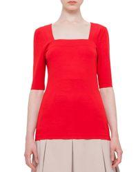 Akris Punto - Red Half-sleeve Square-neck Top - Lyst