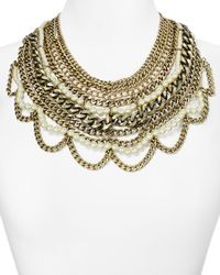 "BaubleBar | Metallic Imitation Pearl Courtney Bib Necklace, 17"" | Lyst"
