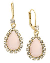 kate spade new york | Pink Gold-Tone Teardrop Crystal Leverback Drop Earrings | Lyst