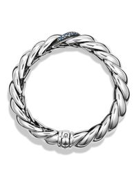 David Yurman | Metallic Hampton Cable Narrow Bracelet With Gray Diamonds | Lyst
