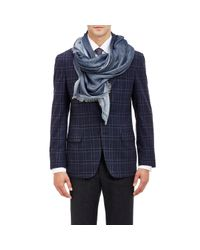 Barneys New York - Blue Double-faced Lightweight Scarf for Men - Lyst