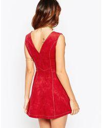 ASOS - Gray Suedette A-line Dress - Lyst