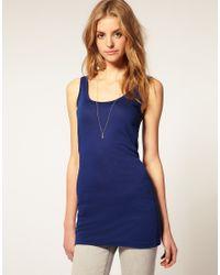 ASOS - Blue Basic Longline Vest - Lyst