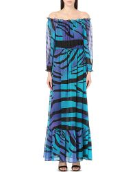 Diane von Furstenberg | Blue Camila Off-the-shoulder Silk Maxi Dress | Lyst
