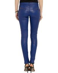 Karl Lagerfeld - Blue Bikey Leather Skinny Pants - Lyst