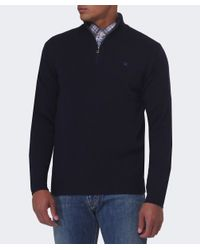 Hackett Blue Half Zip Wool Jumper for men