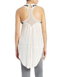 Free People | White Embroidered Racerback Tunic | Lyst