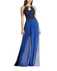 BCBGeneration - Blue Colorblock Cutout-bodice Maxi Dress - Lyst