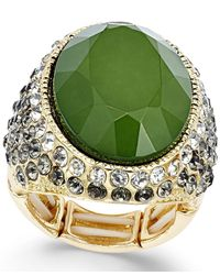 INC International Concepts | Gold-tone Green Stone Stretch Ring | Lyst