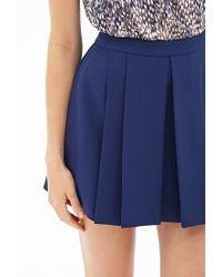 Forever 21 - Blue Pleated Woven Mini Skirt - Lyst