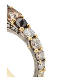 Ara Vartanian - Metallic Yellow Gold Three Finger Ring With Brown, Black And White Diamonds - Lyst