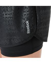 Reebok - Black Embossed Two-in-one Running Shorts - Lyst