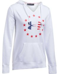 Under Armour - White Freedom Logo Favorite Fleece Hoodie - Lyst