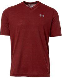 Under Armour - Red Threadborne Siro Striped V-neck T-shirt for Men - Lyst