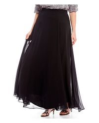 Alex Evenings - Black Plus Size Chiffon Long Circle Skirt - Lyst