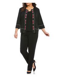 Ming Wang - Black Plus Jewel Neck Grommet Trim Jacket - Lyst