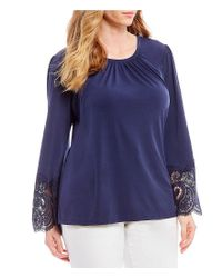 MICHAEL Michael Kors - Blue Plus Size Matte Jersey Shirred Neck Lace Cuff Bell Sleeve Top - Lyst