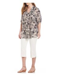Ruby Rd - Multicolor Plus Size Roll-tab Sleeve Hibiscus Tie Dye Print Light Weight Gauze Top - Lyst