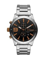 DIESEL - Metallic Rasp Chronograph & Date Bracelet Watch for Men - Lyst