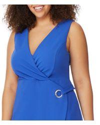 REBEL WILSON X ANGELS - Blue Plus Size Faux Wrap Style Grommet Dress - Lyst