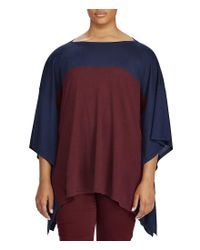 Lauren by Ralph Lauren - Blue Plus Color-blocked Silk-blend Poncho - Lyst