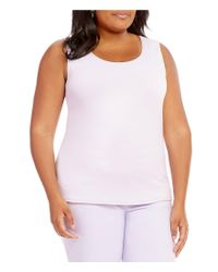 Ruby Rd - White Plus Solid Sleeveless Knit Top - Lyst