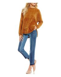 Chelsea & Violet - Blue Step Up Crop Pieced Denim Jean - Lyst