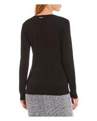 MICHAEL Michael Kors - Black Cross Neck Fine Gauge Knit Sweater - Lyst