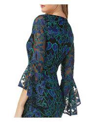 Carmen Marc Valvo Red V-neck Lace Bell-sleeve Dress