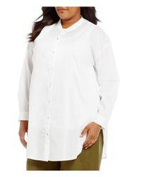 Eileen Fisher | White Plus Mandarin Collar Long Shirt | Lyst