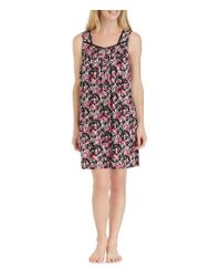 Eileen West - Black Floral-printed Jersey Short Nightgown - Lyst